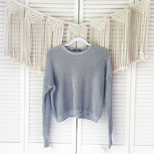 BRANDY MELVILLE Gray Knit Cropped Crewneck Sweater